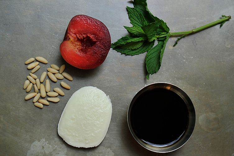 Buffalo Mozzarella with Balsamic Glazed Plums, Pine Nuts andMint
