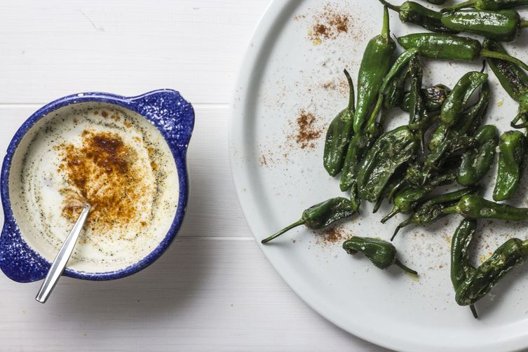 Grilled Padron Peppers with Buttermilk chilli dip 1