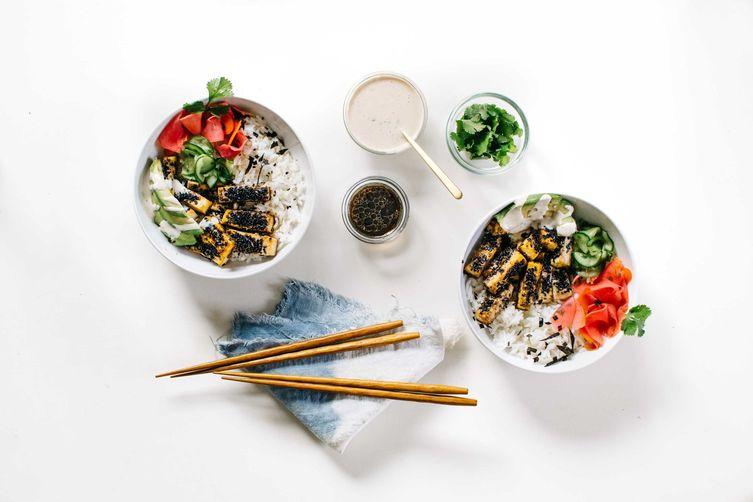 Black Sesame-Crusted Tofu Bowl with Quick-Pickled Veggies & CilantroTahini 1
