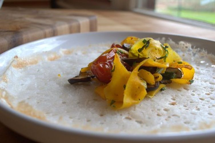 Savory rice crepes with sauteed vegetables 1
