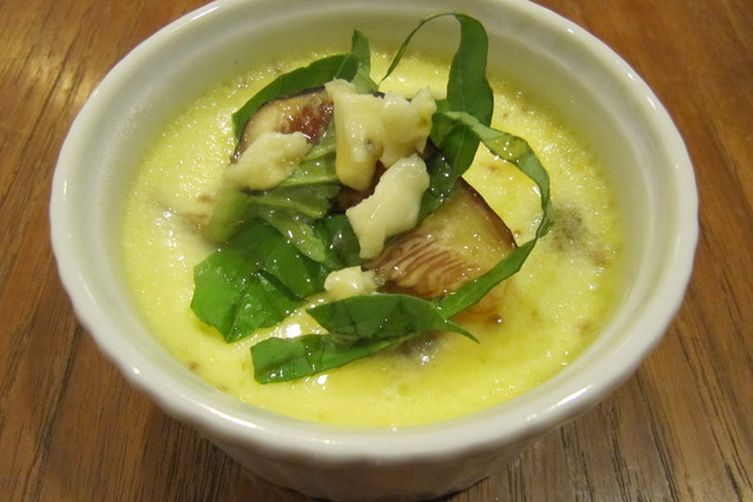 Fresh Fig Custard with Sweet Basil, Blue Cheese and Honey 1