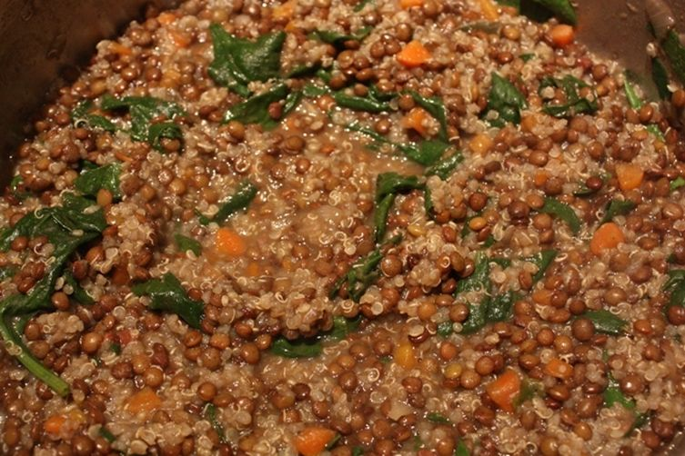 Thick Lentil Soup with Quinoa and Spinach 1
