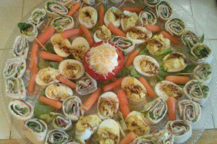 Foolproof Rolled Sandwiches Party Tray with Tomato Dip & Deviled Eggs 1