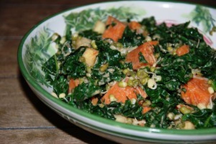 Kale, Sweet Potato, and Mung Sprout Salad with Miso Dressing 1