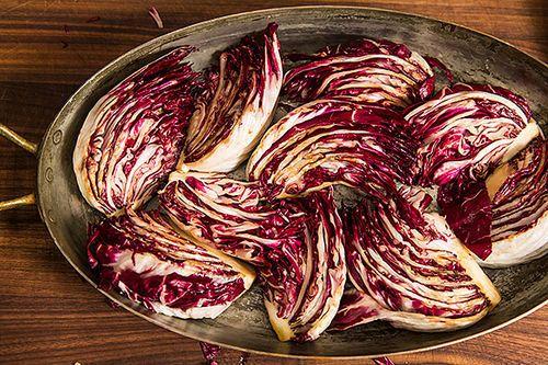 Roasted Radicchio and Shrimp with Warm BaconVinaigrette