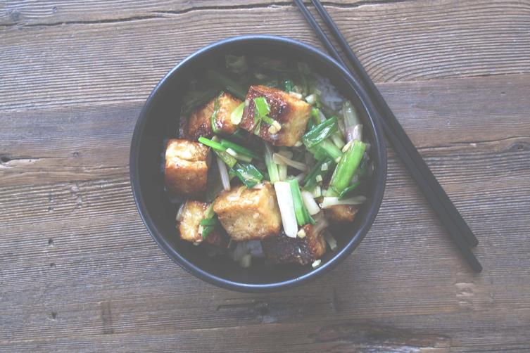 TOFU WITH GREEN GARLIC, GREEN ONIONS + WHITE SHOYU 1