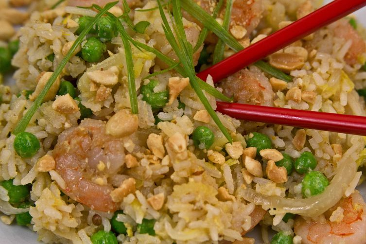 Shrimp and Egg Fried Rice with Peas and NapaCabbage 1