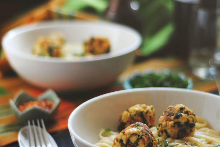Kale + Tofu Balls withPasta