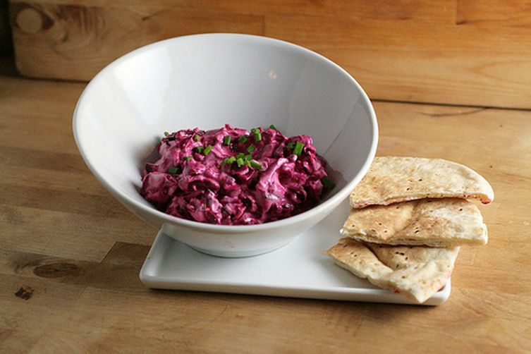 An American Patzaria - Creamy Beet Spread with Blue Cheese and Bacon 1