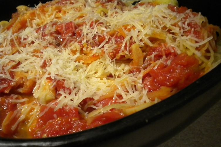 Spaghetti Squash with Tomatoes, Garlic, Anchovies and Cheese 1