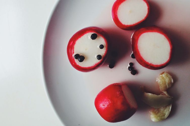 Pickled Radishes with BlackPeppercorns