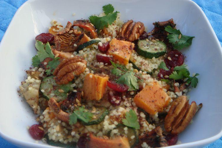 Saffron Couscous with Roast Autumn Vegetables, Pecans, Cranberries andFigs