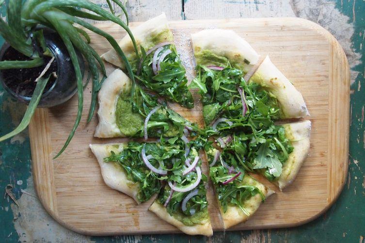 Avocado Pizza + Arugula, basil, &lime