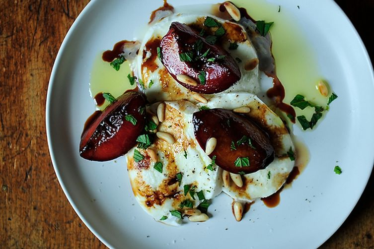 Buffalo Mozzarella with Balsamic Glazed Plums, Pine Nuts andMint 1