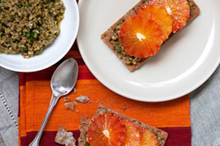 Blood Orange and Green Olive TapenadeTartines 1