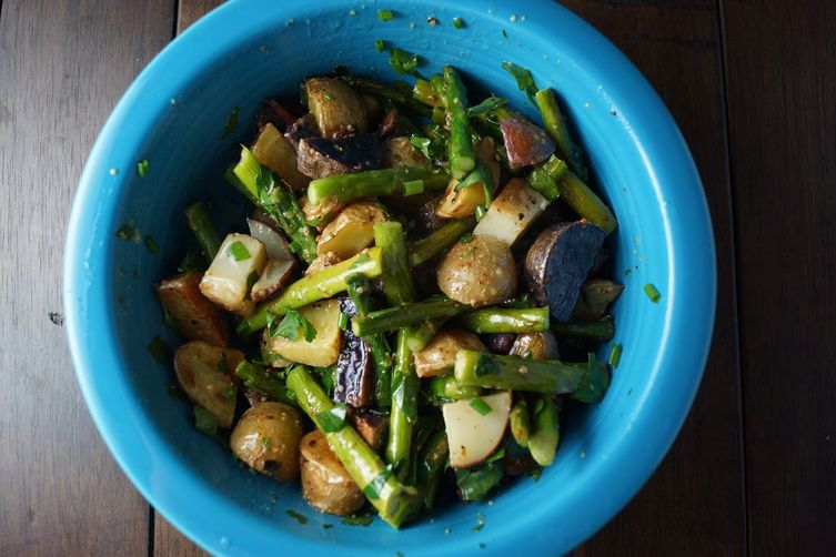 Roasted Potatoes and Asparagus with MustardVinaigrette 1