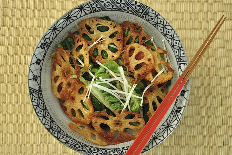 Lotus Root Green Salad with Sesame Dressing 1