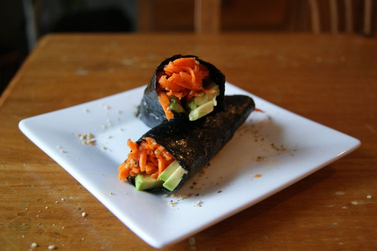 Shredded Carrot-Ginger Salad + Avocado Wrap 1