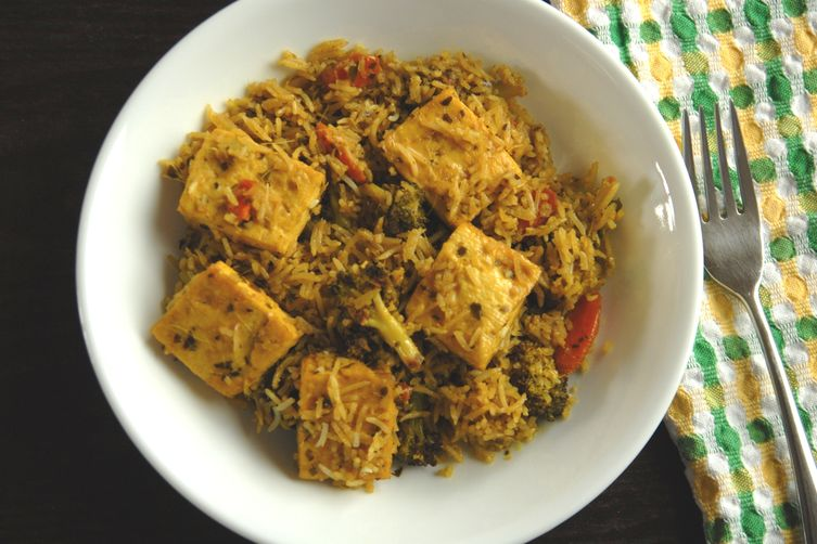 Thai curry fried rice with tofu 1