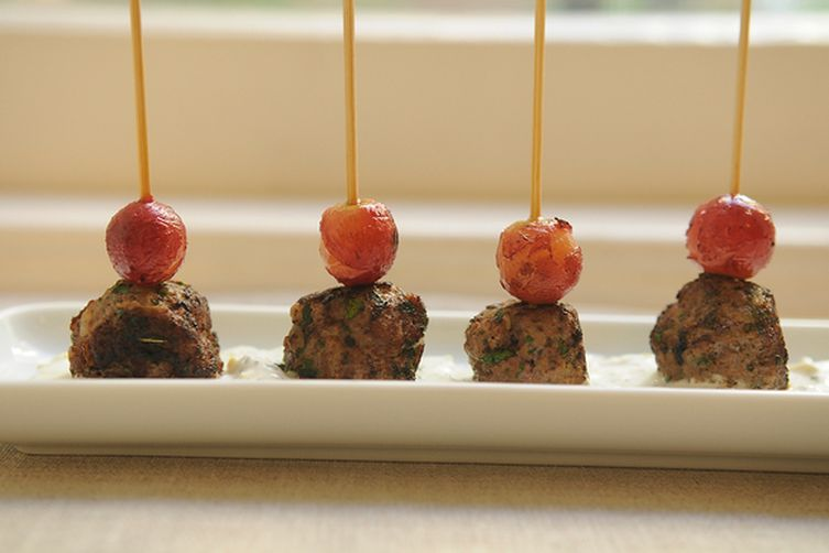 Kefta-Style Meatballs with Grilled Grapes and Yogurt Sauce 1
