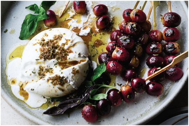 Ottolenghi's Burrata with Grilled Grapes &Basil 1