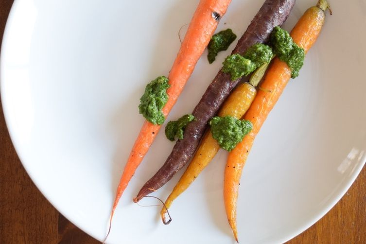 Blistered Rainbow Carrots with Carrot TopPesto 1