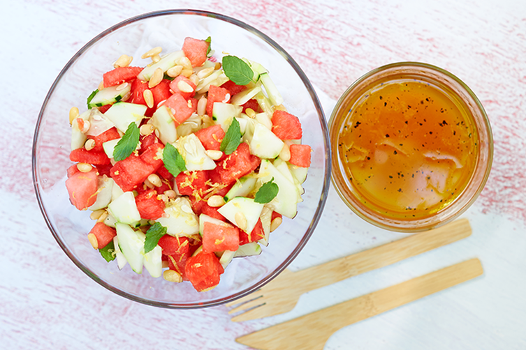 Summery Watermelon and CucumberSalad