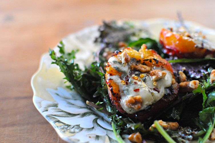 Gorgonzola Grilled Plums with Maple Syrup, Walnuts &Chilies 1