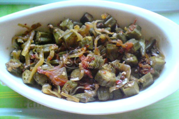 Fried Bhindi OR Okra with Onions andTomatoes 1
