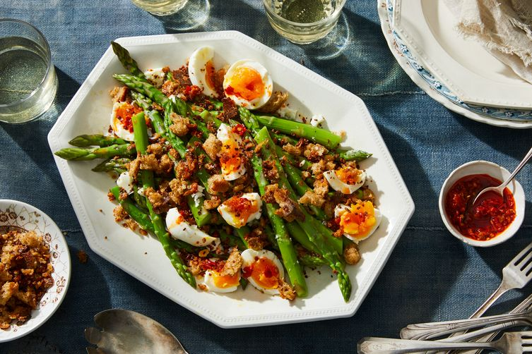 Asparagus With Soft-Boiled Eggs & Anchovy BreadCrumbs 1