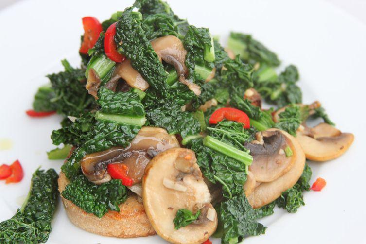 Kale, Mushrooms and Chilli on SourdoughToast 1
