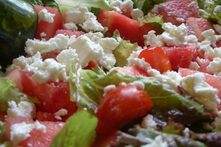 Watermelon Feta Tomato Salad with Basil Vinaigrette 1