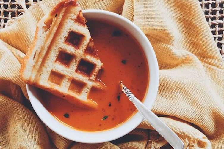 Tomato Soup and Saint-André Waffled Grilled CheeseSandwiches
