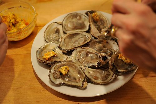 Grilled (or Broiled) Oysters with a Sriracha LimeButter