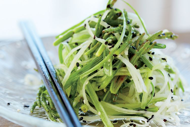 Vedge's Sea Bean Salad with Daikon and Cucumber 1