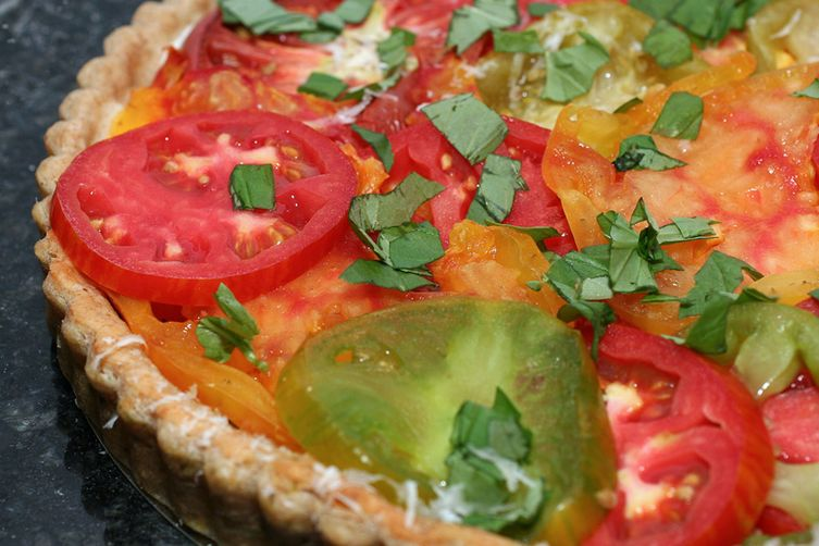 Heirloom Tomato Tart with a Parmesan BasilCrust 1
