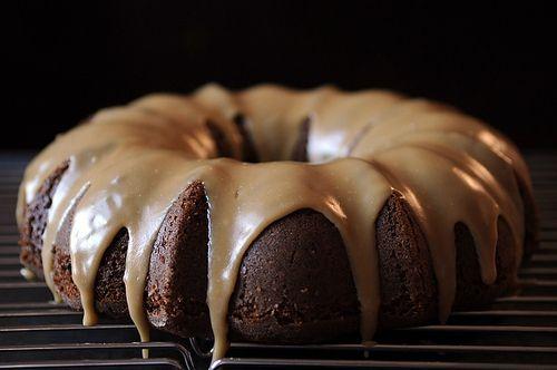 Applesauce Cake with CaramelGlaze