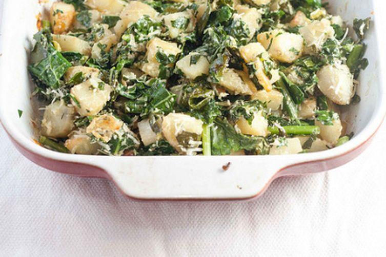Roasted Kale and Potato Salad with TahiniDressing