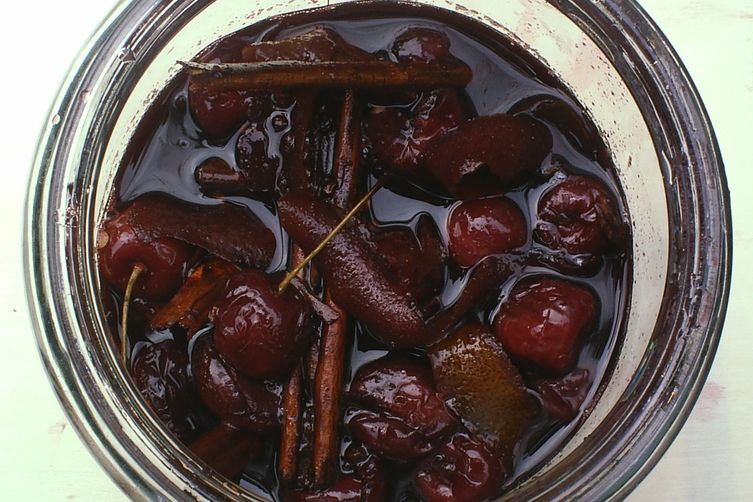Red wine-poached cherries