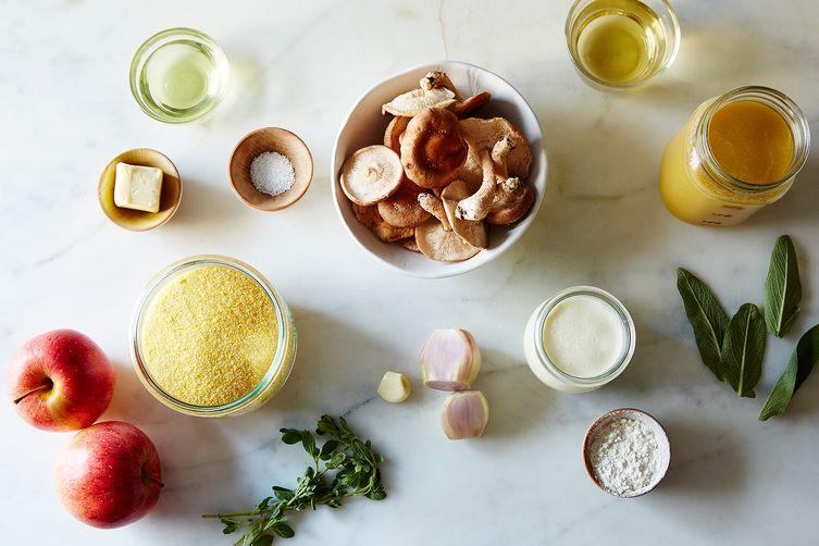 Creamy Polenta with Sautéed Apples, Mushrooms, &Calvados