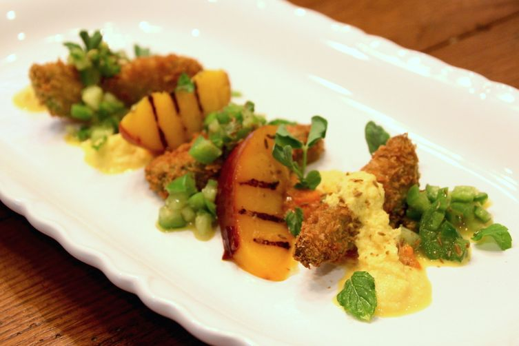 Fried Avocado and Grilled Nectarine Salad with TomatilloVinaigrette 1