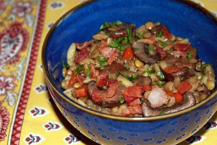 Lentil and Toasted Orzo Salad with Mushrooms andBacon 1
