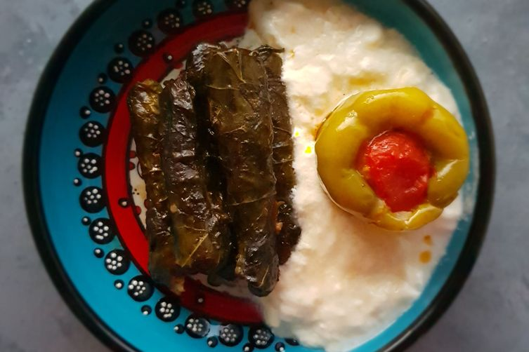 STUFFED GRAPE LEAVES, BELL PEPPERS 1