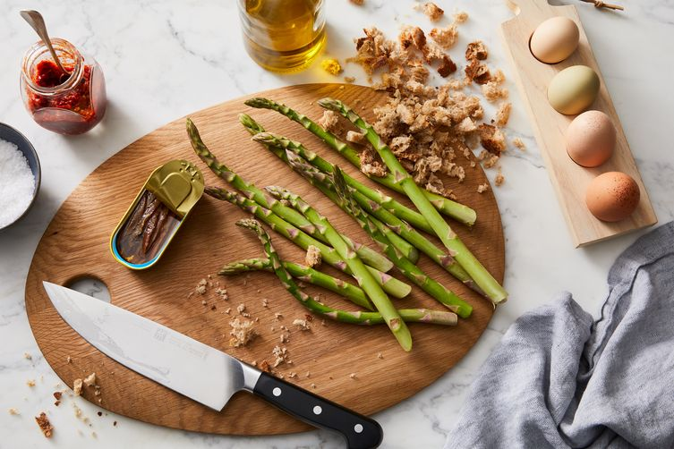 Asparagus With Soft-Boiled Eggs & Anchovy BreadCrumbs