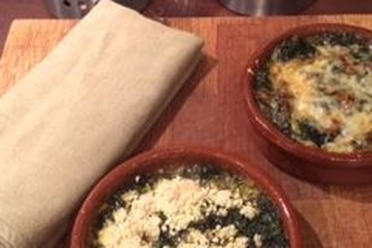 Spinach with béchamel ( at my own gluten free- dairy freeway) 1