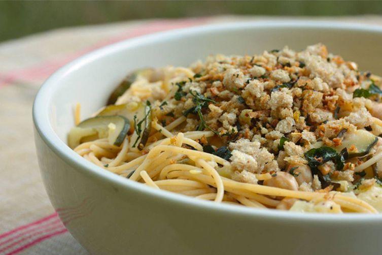 Pasta with Zucchini, Chickpeas and Gremolata BreadCrumbs