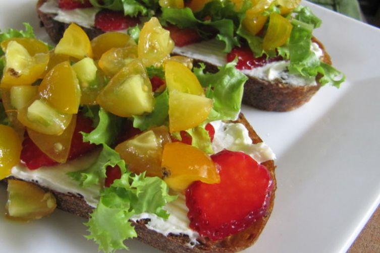 Savoring Summer Tartine, with Cherry Tomato andStrawberry