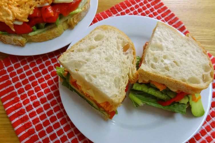 Roasted Red Pepper Sandwiches with Spicy Chipotle-Lime Carrot Slaw