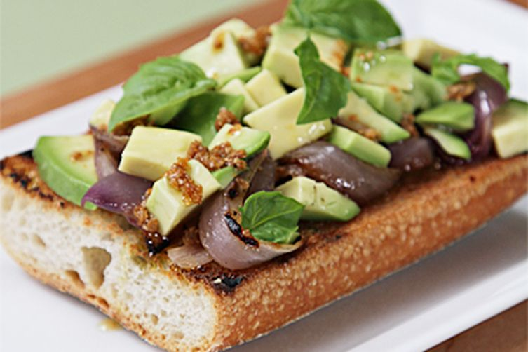 Avocado and grilled onion tartines with roasted coriander-lime vinaigrette 1