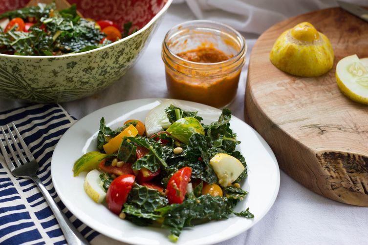 Tomatoes Galore Kale Salad with Tomato BasilVinegairette 1